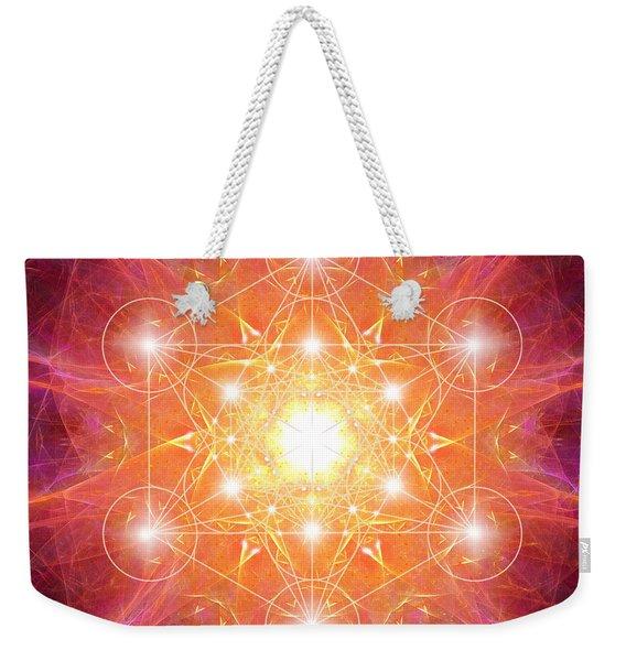 Metatron's Cube Shiny Weekender Tote Bag