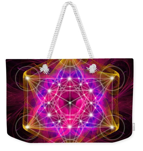 Metatron's Cube With Flower Of Life Weekender Tote Bag