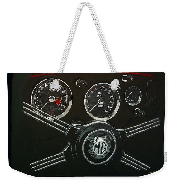 Weekender Tote Bag featuring the painting Mga Dash by Richard Le Page