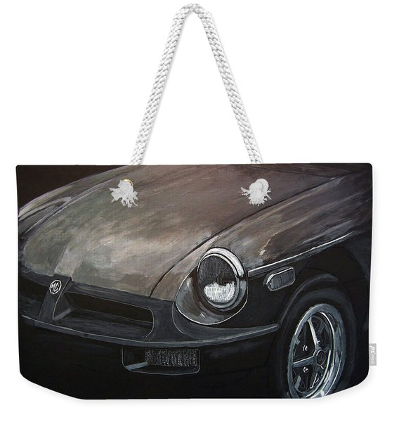 Weekender Tote Bag featuring the painting Mgb Rubber Bumper Front by Richard Le Page