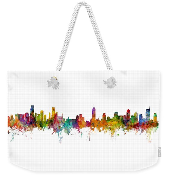 Miami And Nashville Skylines Mashup Weekender Tote Bag