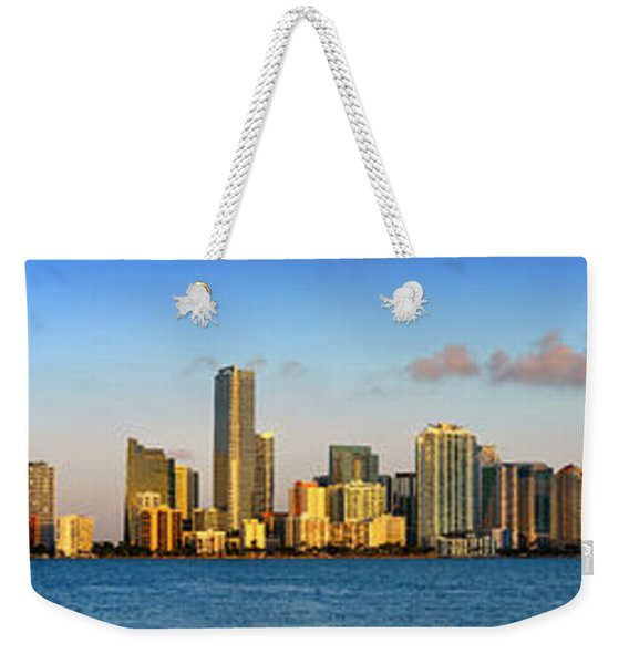 Miami Skyline In Morning Daytime Panorama Weekender Tote Bag