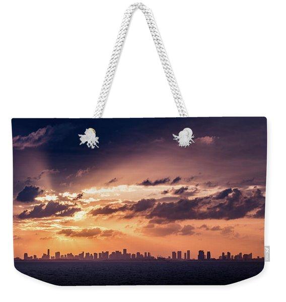 Miami Sunset Pano Weekender Tote Bag