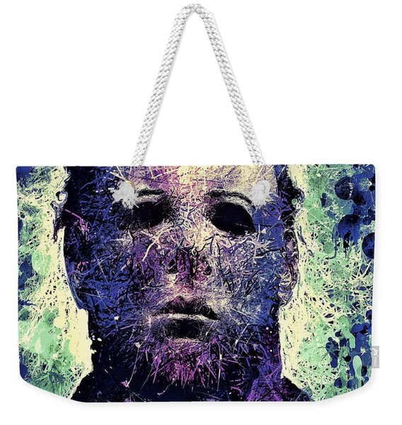 Weekender Tote Bag featuring the mixed media Michael Myers by Al Matra