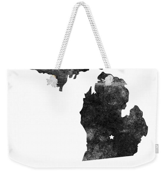 Michigan State Map Art - Grunge Silhouette Weekender Tote Bag