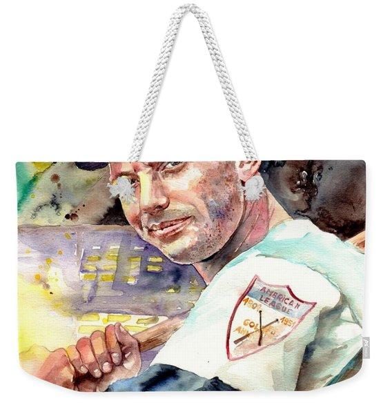 Mickey Mantle Watercolor Weekender Tote Bag