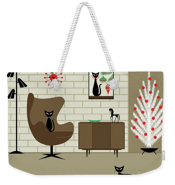 Weekender Tote Bag featuring the digital art Mid-century Christmas by Donna Mibus