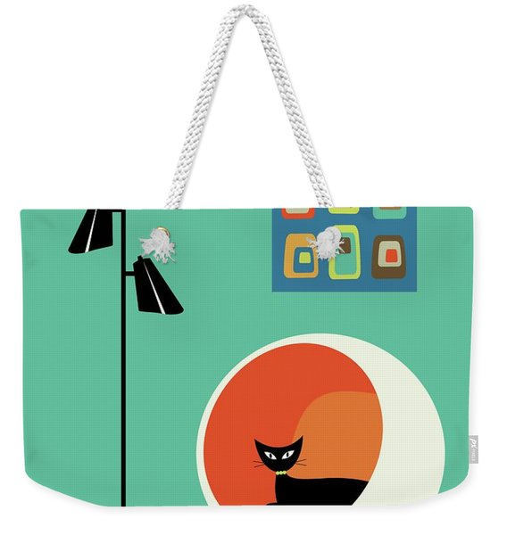 Weekender Tote Bag featuring the digital art Mid Century Mini Oblongs by Donna Mibus