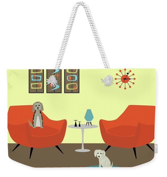 Weekender Tote Bag featuring the digital art Mid Century Modern Dogs 1 by Donna Mibus