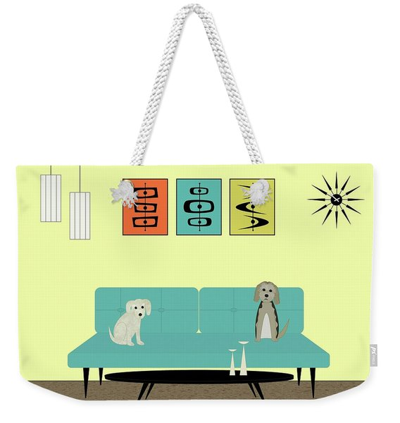 Weekender Tote Bag featuring the digital art Mid Century Modern Dogs 2 by Donna Mibus
