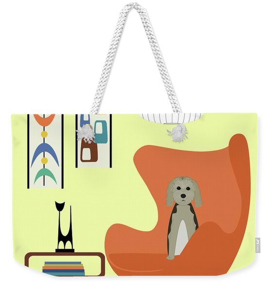 Weekender Tote Bag featuring the digital art Mid Century Modern Dogs 3 by Donna Mibus