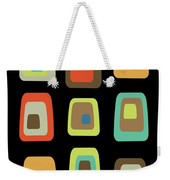 Weekender Tote Bag featuring the digital art Mid Century Modern Oblongs On Black by Donna Mibus