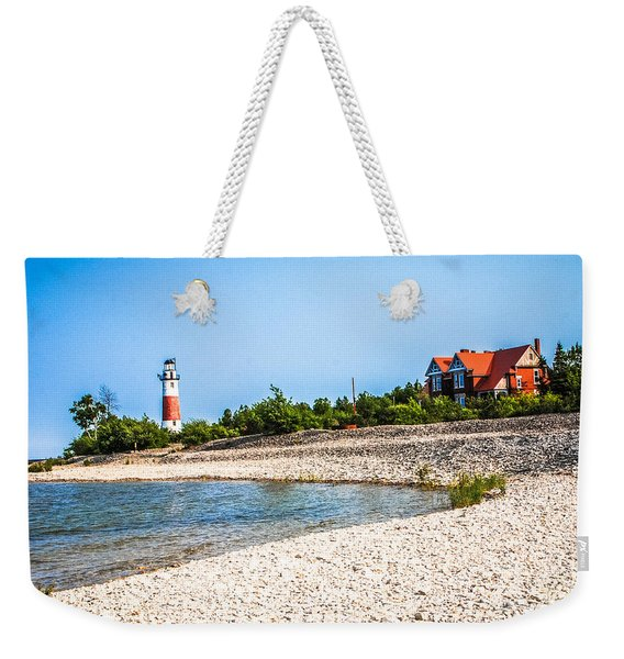 Middle Island Lighthouse And Beach Weekender Tote Bag