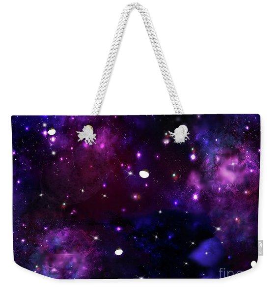 Midnight Blue Purple Galaxy Weekender Tote Bag