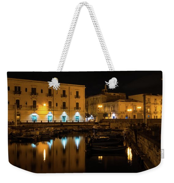 Midnight Silence And Solitude - Syracuse Sicily Illuminated Waterfront Weekender Tote Bag