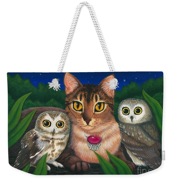 Midnight Watching - Abyssinian Cat Saw Whet Owls Weekender Tote Bag