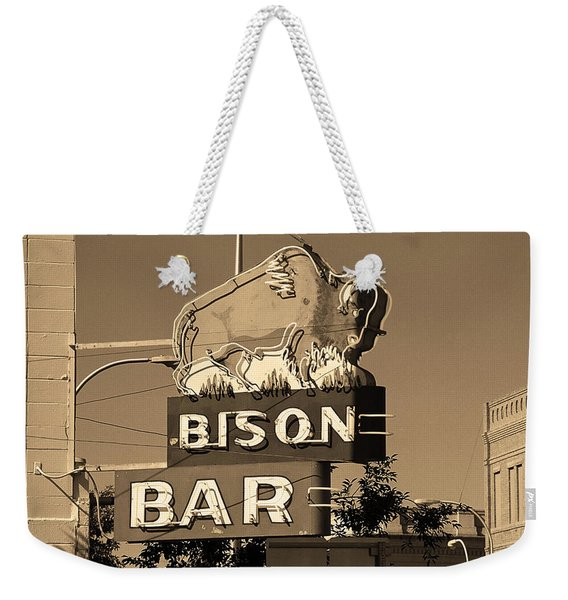 Miles City, Montana - Bison Bar Sepia Weekender Tote Bag