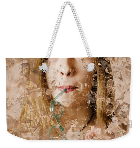 Milk Shake Pin-up Woman. Restaurant Art  Weekender Tote Bag