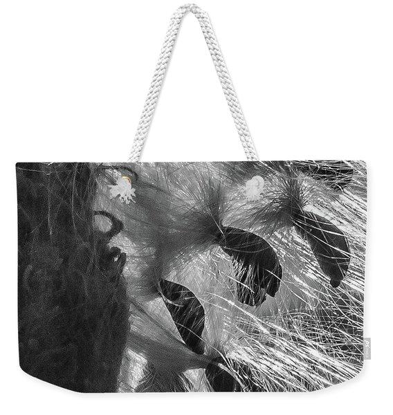 Milkweed Sunburst In Black And White Weekender Tote Bag