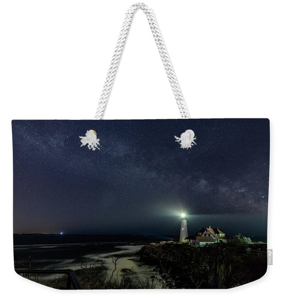 Milky Way At Portland Head Light Weekender Tote Bag