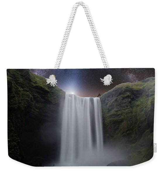 Milkyway Arch Over Raging Waterfall By Adam Asar 3aa Weekender Tote Bag