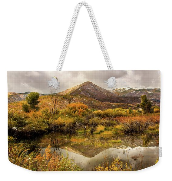 Mill Canyon Peak Reflections Weekender Tote Bag