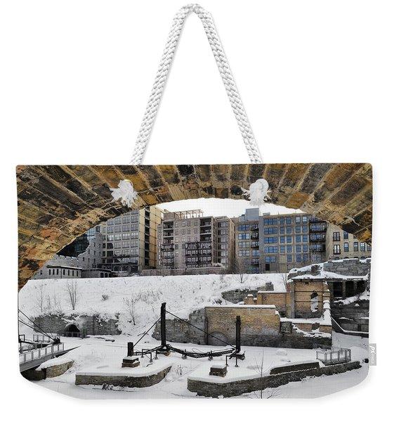 Mill Ruins Park Winter Weekender Tote Bag