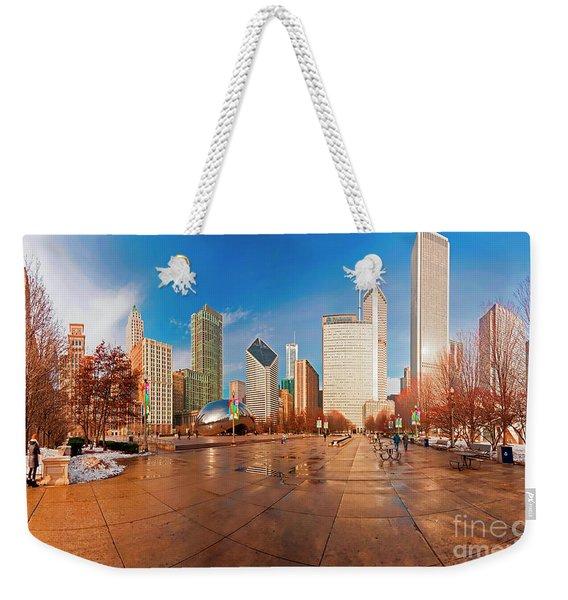 Millennium Park Skyline And The Bean  Weekender Tote Bag