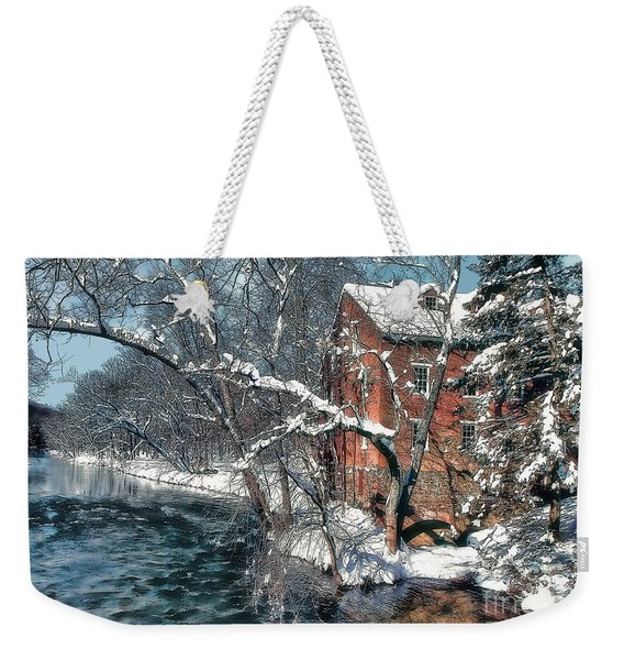 Mill House In Winter Weekender Tote Bag