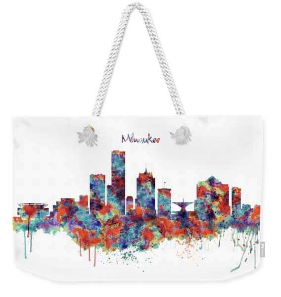 Milwaukee Watercolor Skyline Weekender Tote Bag
