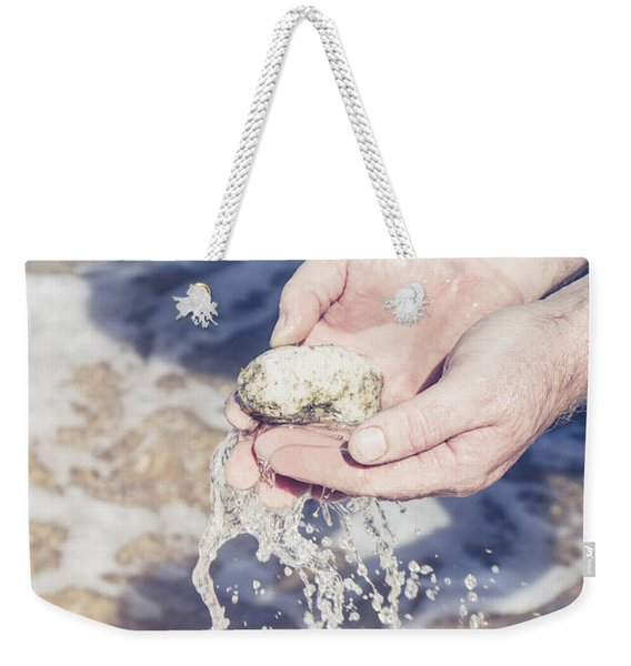 Mineralogy Collector Washing A Pumice Stone Sample Weekender Tote Bag