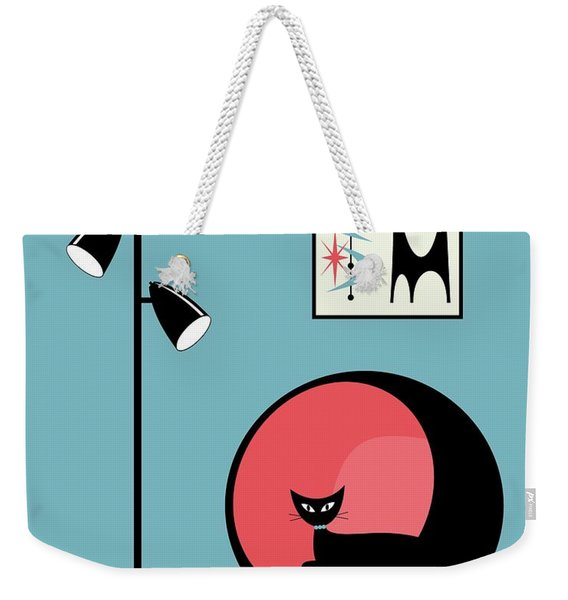 Weekender Tote Bag featuring the digital art Mini Atomic Cat On Turquoise by Donna Mibus