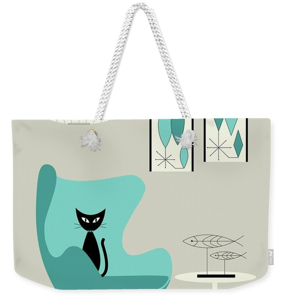 Mini Gravel Art On Gray With Black Cat Weekender Tote Bag