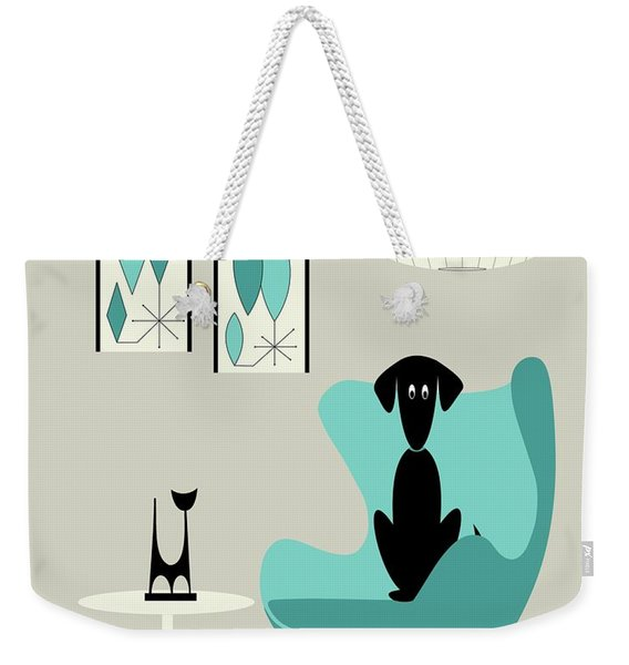 Mini Gravel Art On Gray With Black Dog Weekender Tote Bag