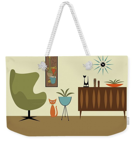 Weekender Tote Bag featuring the digital art Mini Gravel Art With Orange Cat by Donna Mibus