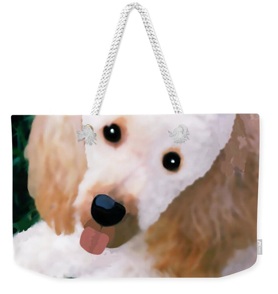 Weekender Tote Bag featuring the photograph Miniature Poodle Albie by Marian Cates