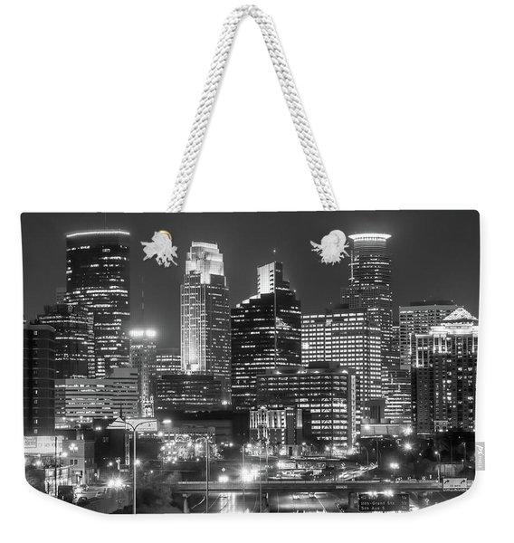 Minneapolis City Skyline At Night Weekender Tote Bag