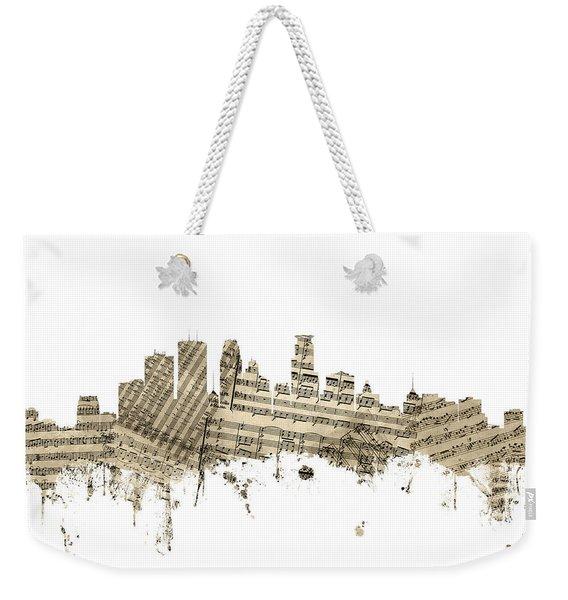 Minneapolis Minnesota Skyline Sheet Music Weekender Tote Bag