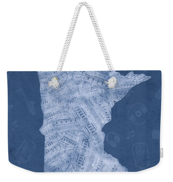 Minnesota Map Music Notes 5 Weekender Tote Bag