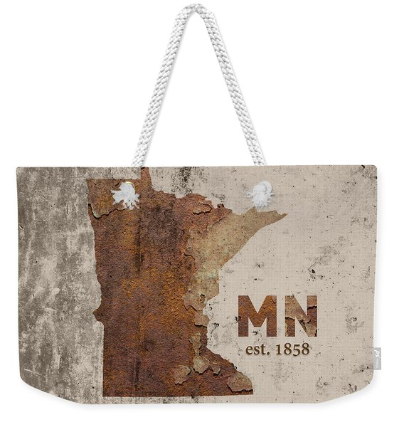 Minnesota State Map Industrial Rusted Metal On Cement Wall With Founding Date Series 036 Weekender Tote Bag