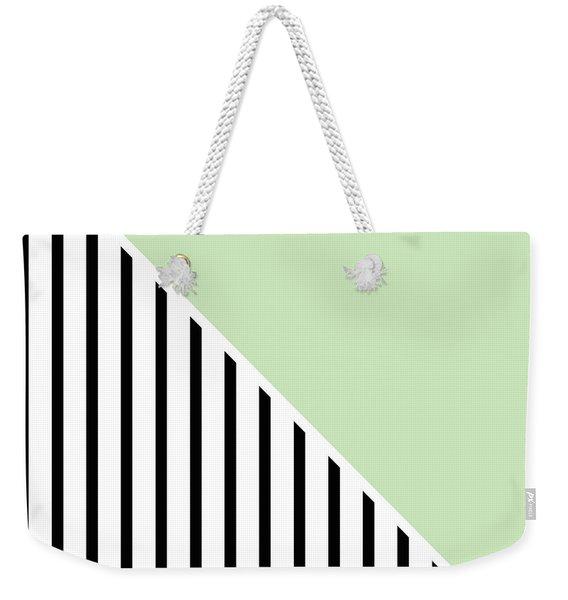 Mint And Black Geometric Weekender Tote Bag