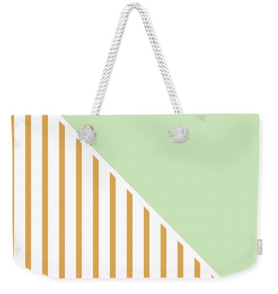 Mint And Gold Geometric Weekender Tote Bag