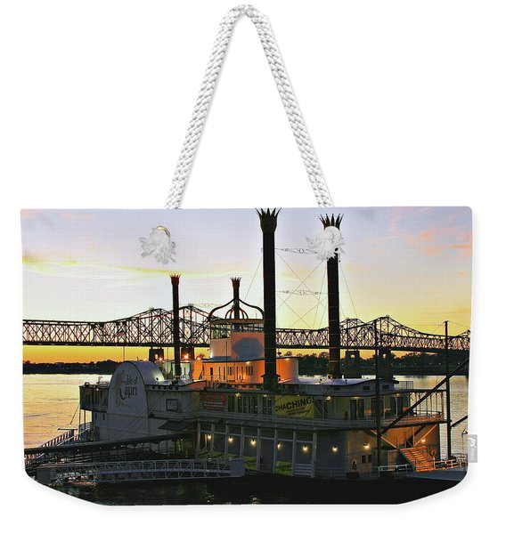 Mississippi Riverboat Sunset Weekender Tote Bag