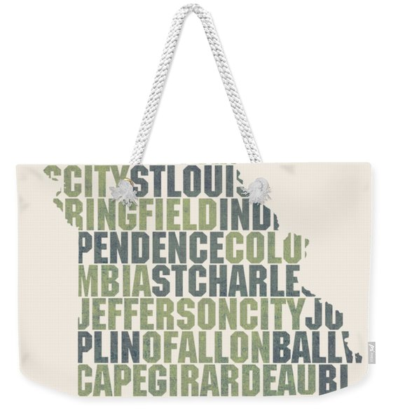 Missouri State Outline Word Map Weekender Tote Bag
