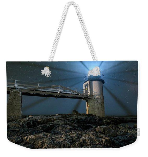 Mist At Marshall Point Light Weekender Tote Bag