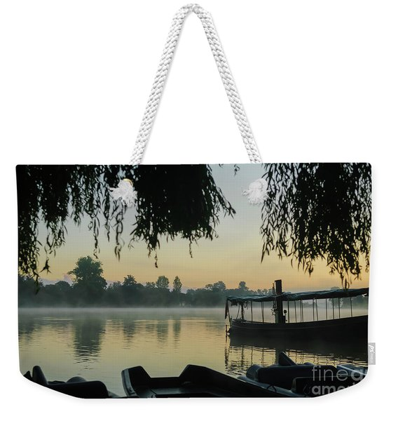 Mist Lake Silhouette Weekender Tote Bag