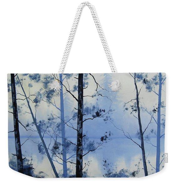 Misty Blue Lake Weekender Tote Bag