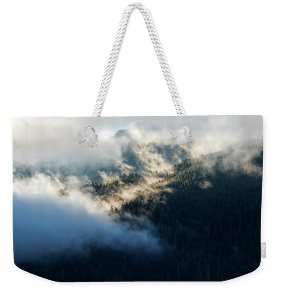 Weekender Tote Bag featuring the photograph Misty Hills by Michael Hope