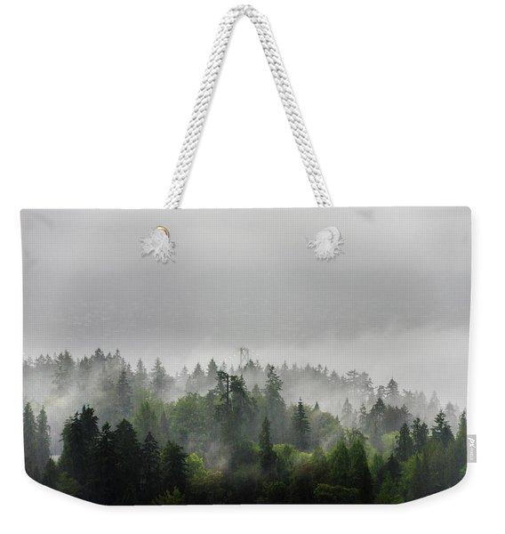 Misty Lions Gate View Weekender Tote Bag