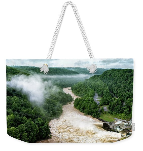 Misty Morning At Summersville Lake Dam Weekender Tote Bag